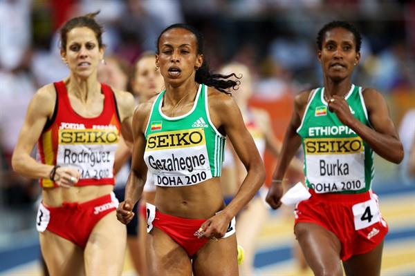 (L-R) Natalia Rodriguez (Spain) takes silver, Kalkidan Gezahegne (ETH) the gold, and Ethiopia's defending champion Gelete Burka takes the bronze in the Women's 1500m Final (Getty Images)