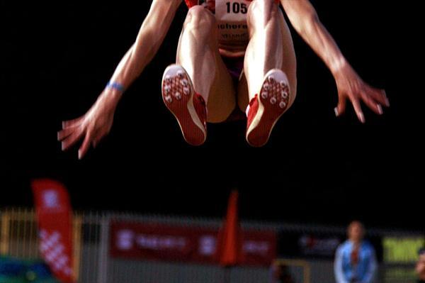 Olga Kucherenko sails 6.90m in Velenje (Bob Ramsak)