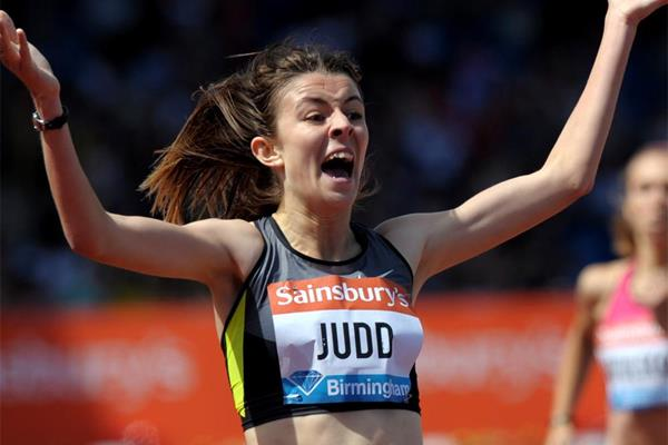 Jessica Judd, surprise winner of the 800m at the Birmingham Diamond League (Mark Shearman)