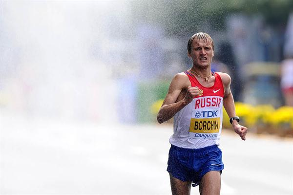 Valeriy Borchin on Russia on his way to the men's 20km Race Walk World title (Getty Images)