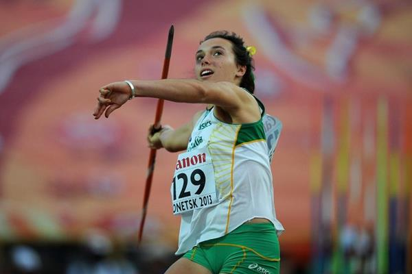 Mackenzie Little in the girls Javelin Throw Final at the  IAAF World Youth Championships 2013 (Getty Images)