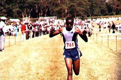 Prisca Jepleting winning the 4km senior women's race in Nairobi (Okoth)