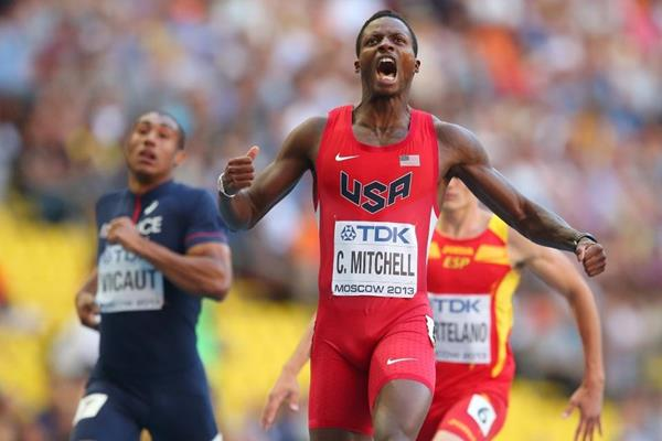 Curtis Mitchell in the mens 200m semi-finals at the IAAF World Athletics Championships Moscow 2013 (Getty Images)