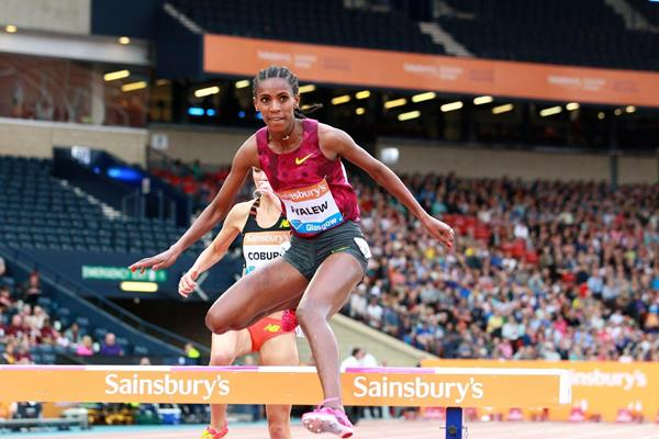 Hiwot Ayalew in the 3000m steeplechase at the 2014 IAAF Diamond League meeting in Glasgow  (Victah Sailer)