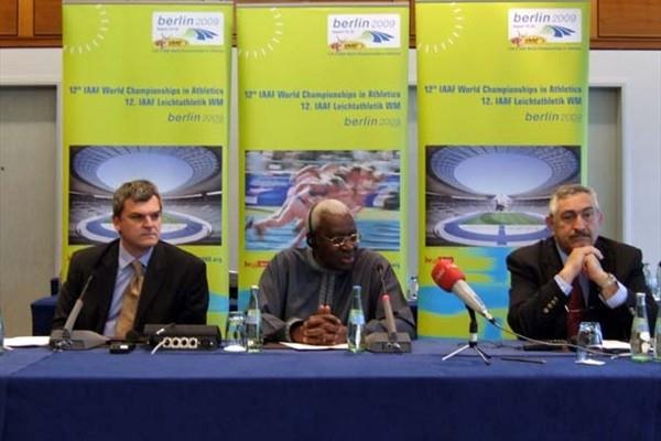 Communications Director Nick Davies, President Lamine Diack, General Secretary Pierre Weiss (Chris Turner IAAF)