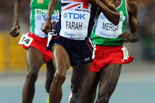 Mohamed Farah of Great Britain competes during the men's 10,000 metres final during day two (Getty Images)