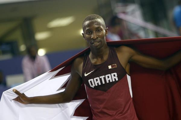 Abdulrahman Musaeb Balla after winning the 800m at the 2016 Asian Indoor Championships (Organisers)