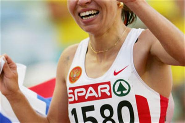 Inga Abitova after her European 10,000m Champs win in Gothenburg (Getty Images)