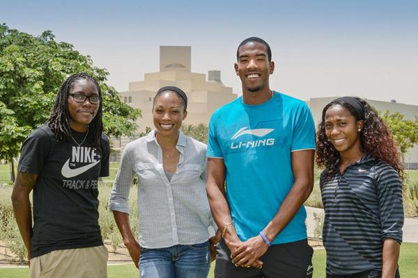 Brittney Reese, Allyson Felix, Christian Taylor and Shelly-Ann Fraser-Pryce outside the Olympics Past and Present Exhibition in Doha (Organisers)