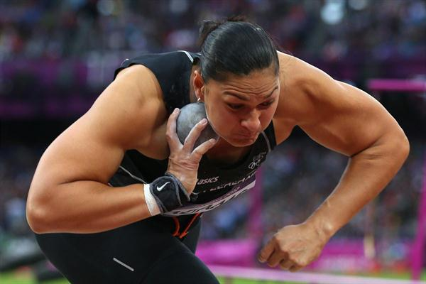 Valerie Adams of New Zealand competes in the Women's Shot Put final on Day 10 of the London 2012 Olympic Games at the Olympic Stadium on August 6, 2012 (Getty Images)