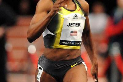 Carmelita Jeter en route to 60m victory at Millrose (Kirby Lee)