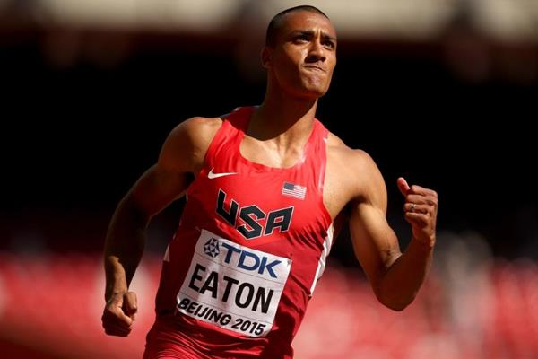 Ashton Eaton in the decathlon 100m at the IAAF World Championships, Beijing 2015 (Getty Images)