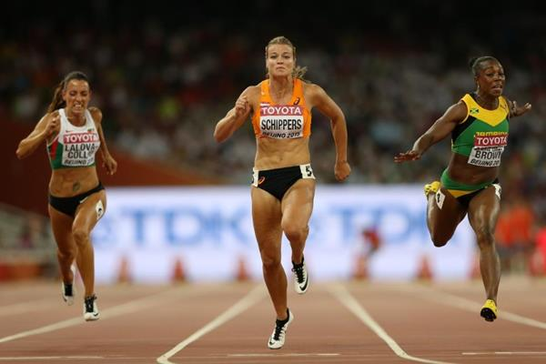 Dafne Schippers wins her 100m semi-final at the IAAF World Championships, Beijing 2015 (Getty Images)