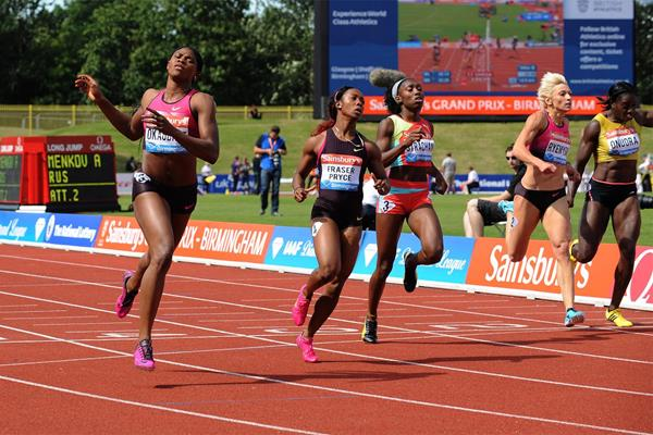 Blessing Okagbare wins the 200m at the Birmingham Diamond League (Mark Shearman)