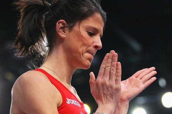 Ruth Beitia of Spain celebrates a successful clearance in the high jump (Getty Images)