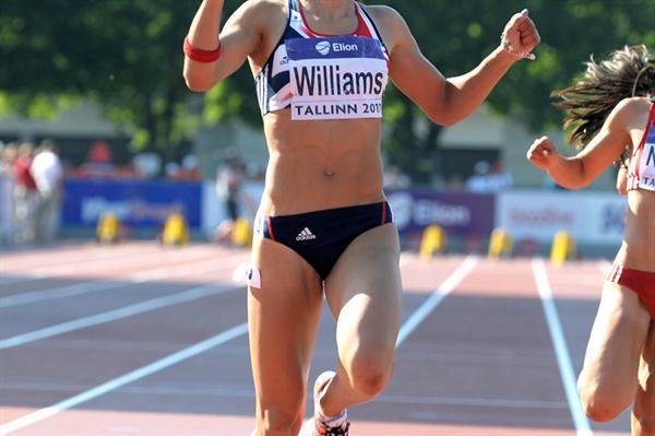 Jodie Williams, the European junior 100m and 200m champion, in Tallinn (Mark Shearman)