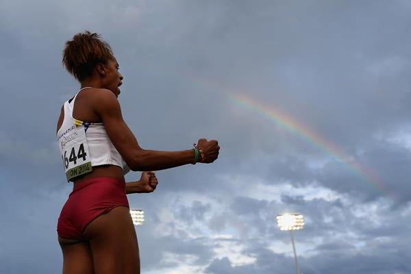 Venezuela's Yulimar Rojas in the long jump at the 2014 IAAF World Junior Championships in Eugene (Getty Images)