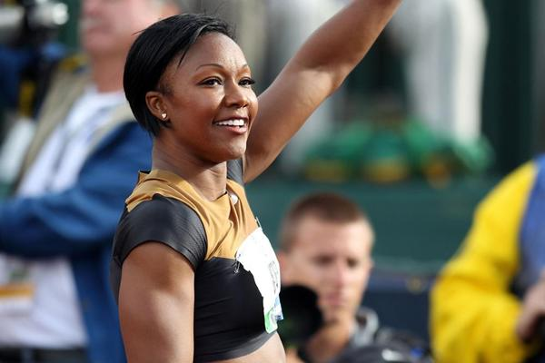 Carmelita Jeter after winning the 100m (Getty Images)