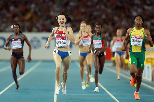 Mariya Savinova of Russia crosses the finish line ahead of Caster Semenya of South Africa to claim victory in the women's 800 metres final  (Getty Images)