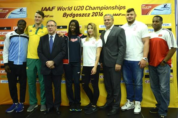 Baboloki Thebe, Kurtis Marschall, IAAF General Secretary Jean Gracia, Candace Hill, Ewa Swoboda, Bydgoszcz Mayor Rafal Bruski, Konrad Bukowiecki and Ato Boldon at the press conference ahead of the IAAF World U20 Championships Bydgoszcz 2016 (Getty Images)