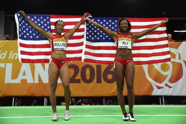 60m hurdles champion Nia Ali (right) and silver medallist Brianna Rollins (left) at the IAAF World Indoor Championships Portland 2016 (Getty Images)