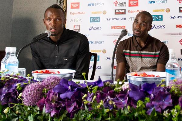 Usain Bolt and Jaysuma Saidy Ndure at the press conference for the 2013 Oslo IAAF Diamond League (Anders Sjogren)