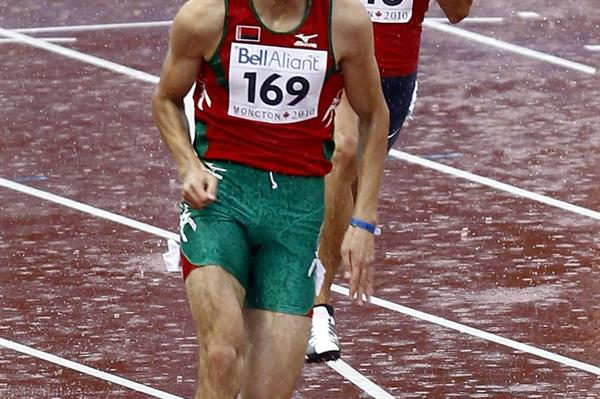 Aliaksandr Linnik of Belarus in action in the men's 200m heats (Getty Images)