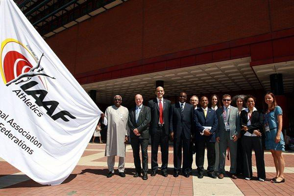 IAAF President Lamine Diack and Steve Morris, the Director of Finance and Corporate Services of the British Library, were joined by IAAF General Secretary Essar Gabriel, the IAAF Director of the President's Office Cheikh Thiare, and other members of the IAAF staff, at a flag raising ceremony today at the British Library Piazza which marked the official inauguration of the IAAF offices at the British Library during the Olympic Games. (Getty Images)
