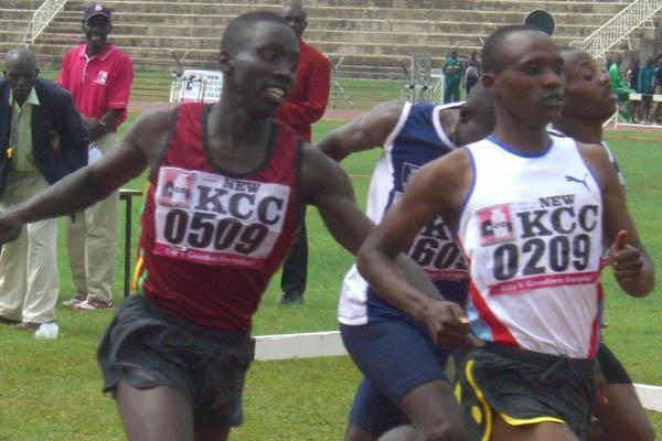 Justus Koech taking a narrow victory at the Kenyan Championships (Peter Njenga)