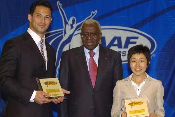 Koiji Murofushi, Lamine Diack, Mizuki Noguchi - IAAF Dinner (IAAF)