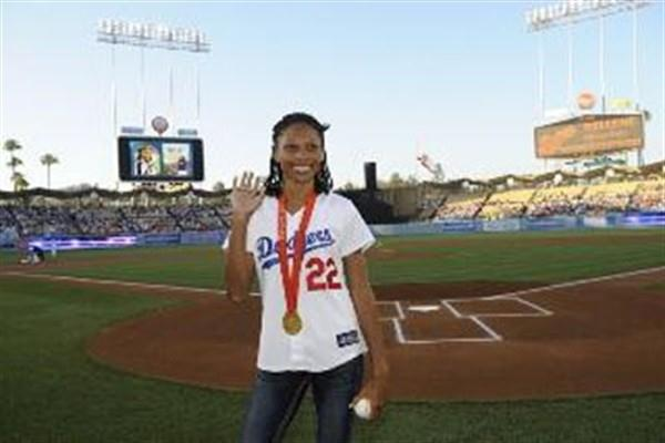Allyson Felix at an L.A. Dodgers baseball game (Kirby Lee)
