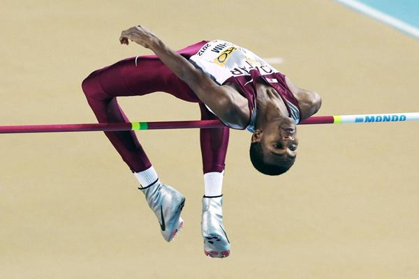 Mutaz Barshim of Qatar competes in the Men's High Jump qualification during day two - WIC Istanbul (Getty Images)