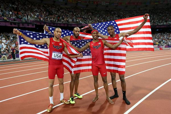 Silver medalists Bryshon Nellum of the United States, Joshua Mance of the United States, Tony McQuay of the United States and Angelo Taylor of the United States celebrate after the Men's 4 x 400m Relay Final on Day 14 of the London 2012 Olympic Games on August 10, 2012  (Getty Images)