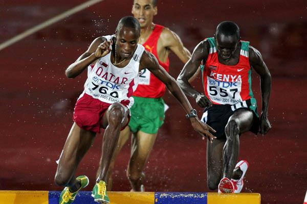 Saif Saaeed Shaheen of Qatar on his way to winning gold in the men's 3000m Steeplechase (Getty Images)