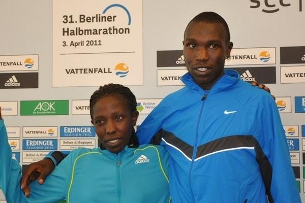 Valentine Kipketer and Geoffrey Kipsang after their victories at the Berlin Half Marathon (scc-events.com)