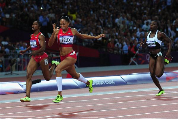 Allyson Felix of the United States going for gold  in the Women's 200m Final of the London 2012 Olympic Games on 8 August 2012 (Getty Images)