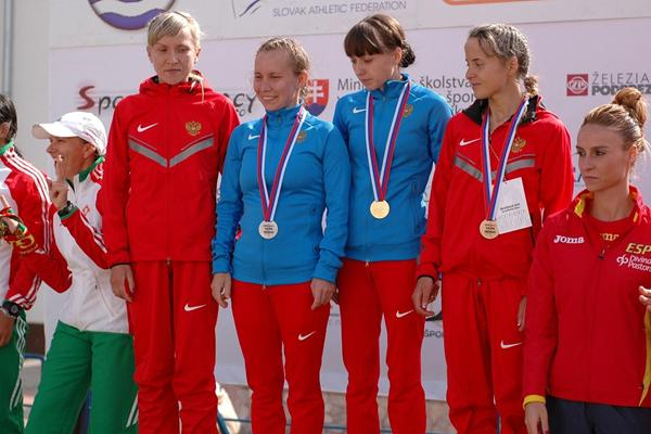 Russia wins the team gold medals in the women's 20km walk at the 2013 European Cup Race Walking (organisers)