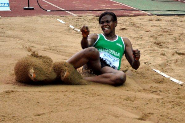 Blessing Okagbare sets a Championship Record of 6.96m in the women's Long Jump in Porto-Novo (Yomi Omogbeja/AthleticsAfrica.Com)