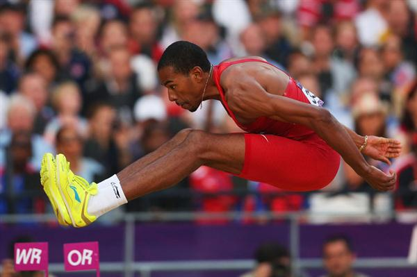 Christian Taylor of the United States jumping for gold during the Men's Triple Jump Final  of the London 2012 Olympic Games on August 9, 2012 (Getty Images)