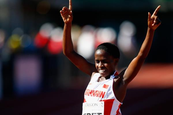 Ruth Jebet wins the 3000m steeplechase at the IAAF World Junior Championships, Oregon 2014 (Getty Images)