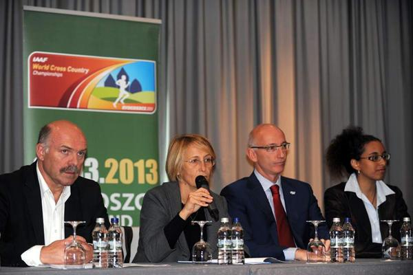 IAAF Site visit to Bydgoszcz, from left: (LOC General Director Krzysztof Wolsztynski, IAAF Council Member Anna Riccardi, IAAF Competitions Department Senior Manager Carlo de Angeli and IAAF Coordinator La Tanya Waweru (Robert Sawicki)