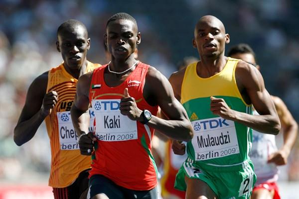 (L-R) Abraham Chepkirwok of Uganda, Abubaker Kaki of Sudan and Mbulaeni Mulaudzi of South Africa in the first of the men's 800m heats in Berlin (Getty Images)