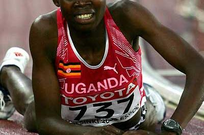 An exhausted Dorcus Inzikuru after the 3000m Steeplechase final (Getty Images)