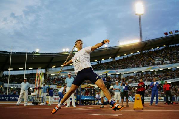 Andreas Thorkildsen throwing for gold in Gothenburg (Getty Images)