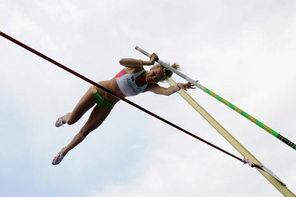 Vicky Parnov of Australia during the Pole Vault qualification (Getty Images)