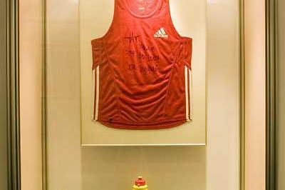 Berlin Sports Museum - Haile Gebrselassie's World marathon record kit is displayed, along with Hallas's shoes and Shahanga's cap (c)