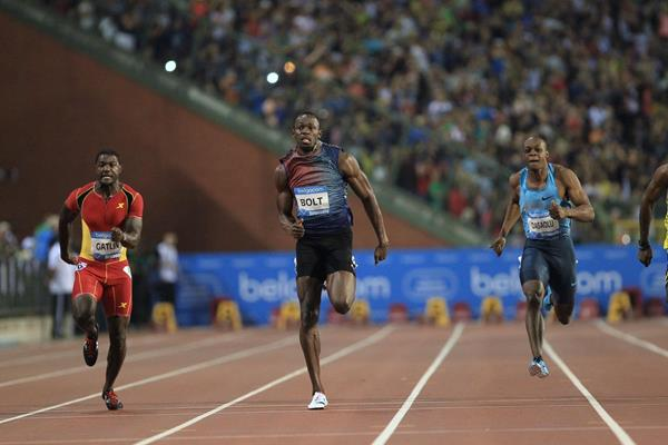 Usain Bolt winning the 100m at the 2013 IAAF Diamond League final in Brussels (Jean-Pierre Durand / IAAF)