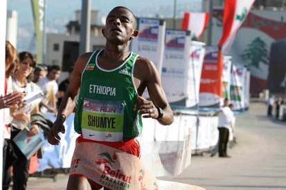 Alemayehu Shumye of Ethiopia wins the 2008 BLOM Beirut Marathon (LOC)