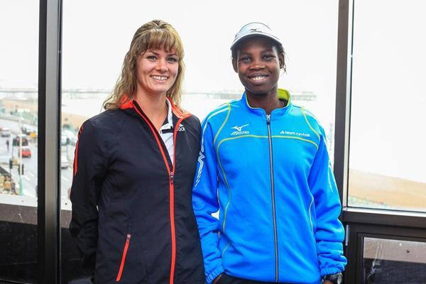 Emily Harrison and Dorcus Inzikuru ahead of the 2013 Brighton Marathon  (Organisers)