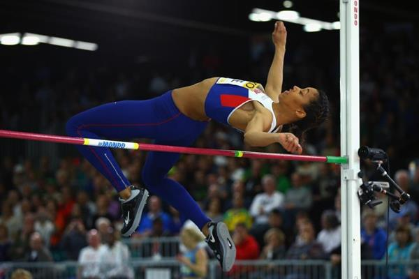 Morgan Lake in the pentathlon high jump at the IAAF World Indoor Championships Portland 2016 (Getty Images)